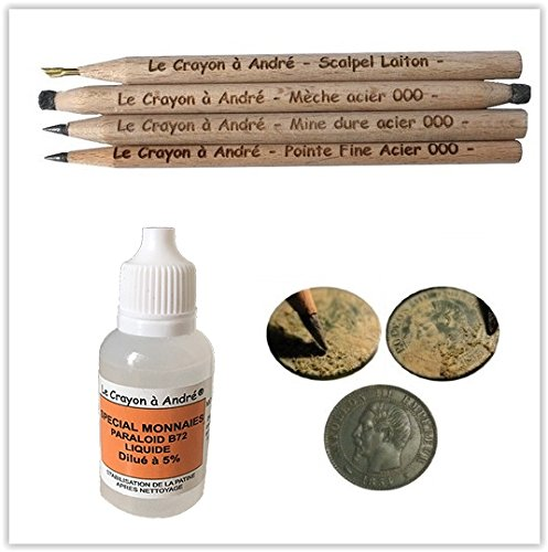 Kit komplett Bleistifte reinigen Münzen 4Bleistifte aus Holz + Fixiermittel für Restaurierung Exponate archäologischen Meißel Skalpell Reinigungskräfte A Bleistift