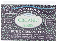 ST. DALFOUR Organic Tea, Tea Bags, Pure Ceylon, 1.75-Ounce Bags, 25-Count Boxes (Pack of 6)