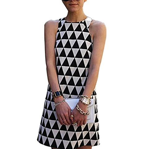 Reaso Femmes Col Rond Sans manche Triangle Imprimé Bodycon Dress Party Robe De Cocktail Mini-Robe de Soirée (L, Noir et Blanc)
