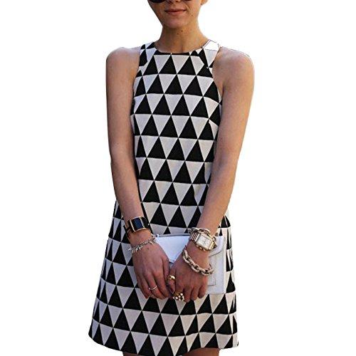 Reaso Femmes Col Rond Sans manche Triangle Imprimé Bodycon Dress Party Robe De Cocktail Mini-Robe de Soirée (S, Noir et Blanc)