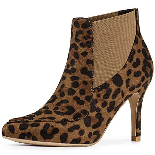 Allegra K Botines Chelsea Tacón Alto Estilete De Punta Estrecha para Mujer - Leopardo/US 7, EU 38