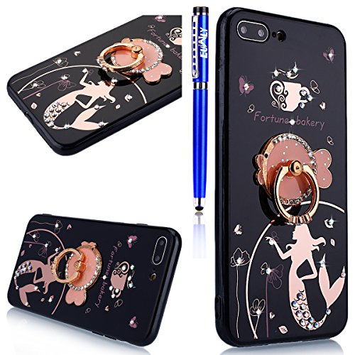 EUWLY Silicone Custodia per iPhone 7/iPhone 8 (4.7), Cover Case per [iPhone 7/iPhone 8 (4.7)], Ultra Sottile Nero Silicone Custodia Bello Anello Ring Stand Holder TPU Copertura Backcover Soft Flessi Mermaid