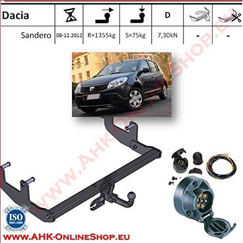 ATTELAGE avec faisceau 7 broches   Dacia Sandero de 2008 à 2012 / crochet «col de cygne» démontable avec outils