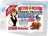 Neusu Strong Travel Vacuum Bags With Valves, 6 Pack Large 40x60cm