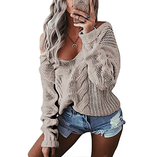 Wenyujh Damen Pullover Langarm Sweatshirt Herbst Winter Pulli Tiefer V-Ausschnitt One Shoulder Einfarbig Loose Fit