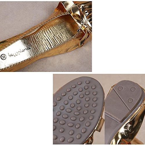Wgwioo Frauen Pu Metallic Leder Bauchtanz Ballett Flache Soled Schuhe Gold