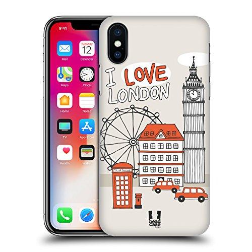 Head Case Designs Viaggio A Londra Doodle Di Citta Cover Retro Rigida per Apple iPhone X Viaggio A Londra