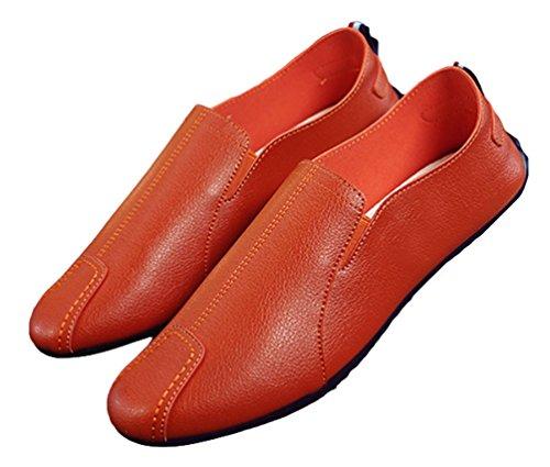 Brinny Hommes Doux Cuir synthétique Décontractée appartements à enfiler mocassin Flâneur Chaussures Bateau Super Confort Cuir Slip-ons Taille: 39-44 Orange