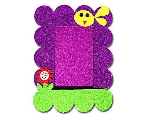 EKNA SUPMO Bilderrahmen - bunt, aus Filz & ohne Glas! | Rahmen für Bilder zum Aufhängen und Hinstellen | Design für Kinder: Blume und Vogel | Farben: Lila, Grün, Rot und Gelb | Außenmaße 24x19cm