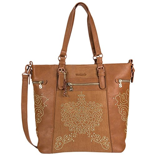 Desigual shopping borsa Bols Argentina Blondie marrone cuoio 58X52B9