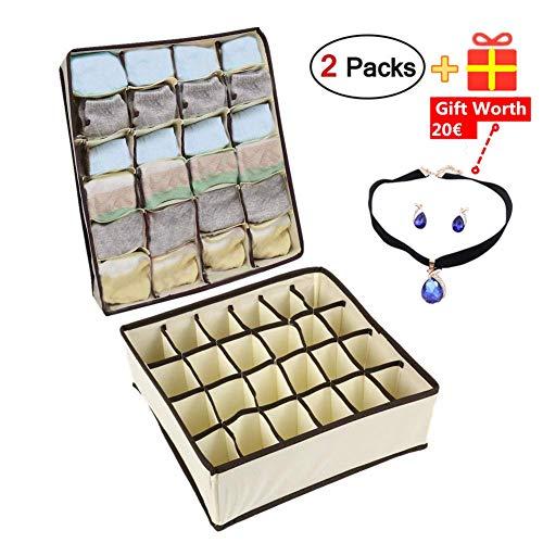Nifogo Aufbewahrungsboxen für Unterwäsche und Zubehörteile,Faltbare Schubladenunterteilungen,Schrank Organizer,zum Aufbewahren von Socken,Schals,Büstenhalter,2 Stück 24 Zellen (Beige) -