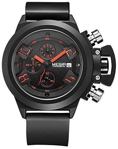 Megir Montre à quartz chronographe à cadrant noir et bracelet en silicone Noir