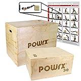 POWRX Box pliometrico in legno 3 in 1 - Plyo box ideale per esercizi di »pliometria« ed incremento della forza esplosiva - Superficie antiscivolo e maniglie per trasporto + PDF workout (Large/75 x 50 x 60 cm)