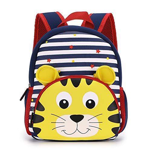 IGNPION Kindergarten Kinder Rucksäcke Toddle Kinder Schultasche Zoo Lunchpaket 3D Niedlichen Tier Cartoon Vorschule Rucksack(Gestreifter Tiger )