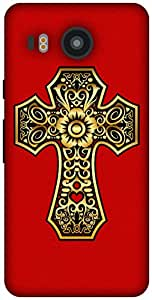 The Racoon Grip printed designer hard back mobile phone case cover for LG Nexus 5X. (Gold Cross)