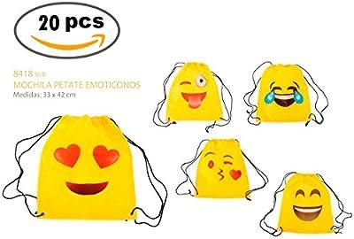 """Lote de 20 Mochilas Petate """"Emoticonos"""" - Mochilas, petates infantiles, infantil para niños y niñas. Regalos, detalles y recuerdos baratos para invitados de Bodas, Comuniones, Cumpleaños"""
