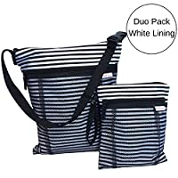 TUTTI BIMBI Travel Wet and Dry Bag - Duo Pack Large and Small (black and white stripe)