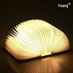 Idea Regalo - Lampada Libro USB Ricaricabile, Lampada a Forma di Libro, Luce LED di legno, Decorativi Lampada da Tavolo -1000mAh Mini Lampada a Libro