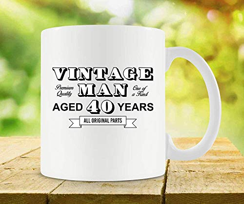 ChGuangm 40th Birthday Mug Birthday Coffee Cup 40th Birthday Gifts for Men Dad Coffee Mug Dad Present Bday Gift Idea 40 Years Old Ceramic Mug