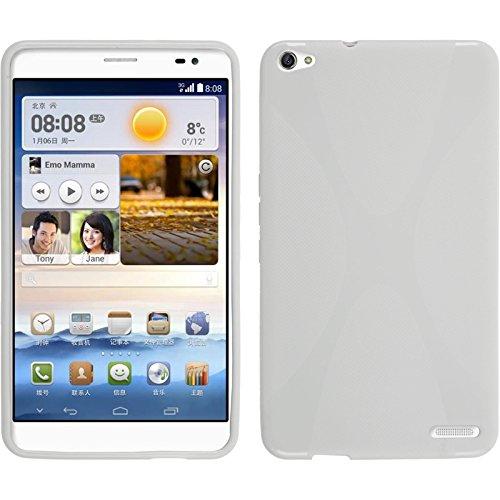 PhoneNatic Case kompatibel mit Huawei MediaPad X1 - weiß Silikon Hülle X-Style + 2 Schutzfolien