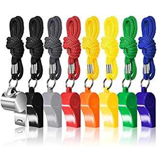 FineGood 8 Packs Coaches Referee Whistles with Lanyards, Colorful Plastic and Stainless Steel Football Whistles for Sports Lifeguards Survival Emergency Training 8