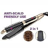2 en 1 rizador de pelo Cerámica Iones negativos No duele Control de temperatura Rulos / Plancha para el pelo / Peinar el cabello Shun