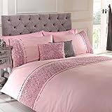 Rose Ruffle Bettwäsche-Set Chic, Vintage, Bettwäsche, Kissenbezüge, Tropen-Design, Baumwollmischung, rose, Super King 30X40