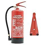 ANDRIS® Feuerlöscher 6kg ABC Pulverlöscher EN3 mit Manometer, Prüfventil + Standfuß, 10 LE