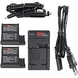Chargeur + DEUX batteries DURAGADGET pour Nilox F-60 EVO caméscope / caméra d'action (13NXAKFH00006) - adaptateur secteur et voiture (batterie D33 / DS-S50)