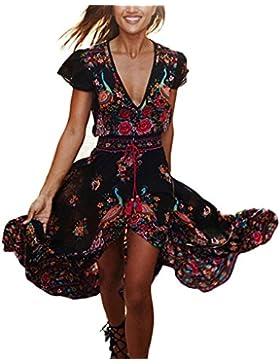 Vestito Lungo Donna Estivo Collo V Casual Elegante Bohemian Floreale Abito Da Spiaggia Retro Alla Moda Manica...