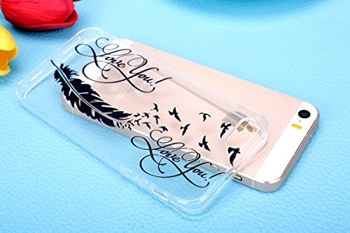 iPhone SE Hülle,iphone 5s TPU Gel Case Bumper,Ekakashop Bunte Transparent Comic Flatternde Roten Kleid Muster Crystal Klar Flexible Case Silikon Defender Protective Schutzhülle Durchsichtig mit Niedli Schwarze Feder Vögel