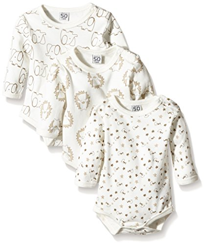Care Unisex Baby Langarm-Body im 3er Pack, All over print, Gr. 74, Elfenbein (Offwhite 200)