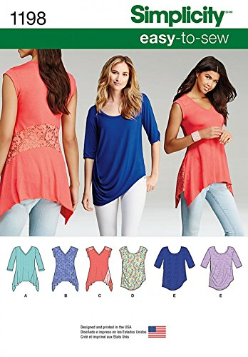 Simplicity Damen Easy Schnittmuster 1198 Jersey Knit Tops (Top Knit-jersey)