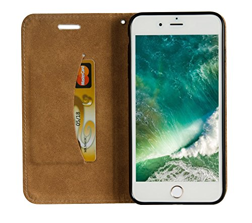 iPhone 8 Plus Hülle Leder Rose Gold,Ultra Slim Exklusive Echtleder Tasche Handyhülle für iPhone 7 Plus,BtDuck 360 Grad Flip Case Vertikal Klappbar aus Echtleder Flip Cover Hülle Lanyard Ledertasche Wa #C 04