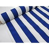 Metraje 0,50 mts tejido loneta estampada Ref. Rayas 40 Azul, con ancho 2,80 mts.
