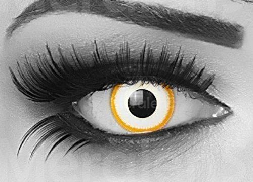 MeralenS ein Paar farbige gelbe weiße Crazy Fun Alien Jahres Kontaktlinsen. Ideal zu Halloween, Karneval, Fasching oder Fasnacht mit gratis Kontaktlinsenbehälter ohne Stärke! (Komplettes Alien Kostüm Kind)