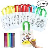 Yuccer Sac a Colorier, 12 PCS Sac Coloriage avec 12 PCS Stylo pour Tissu Enfant Sac Cadeau Anniversaire Enfant Sacs à Main Réutilisables...