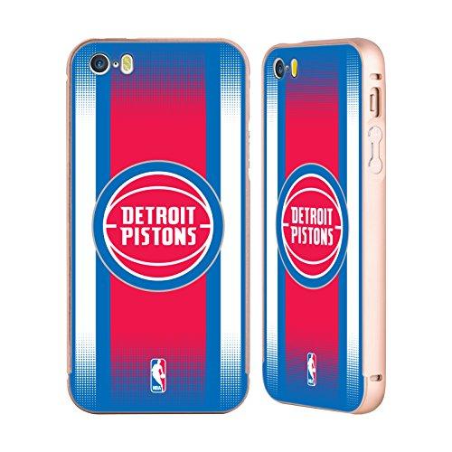 Ufficiale NBA Camouflage Digitale Detroit Pistons Oro Cover Contorno con Bumper in Alluminio per Apple iPhone 5 / 5s / SE Gradiente Mezzotono