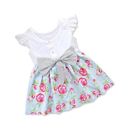 Trada Kleinkind Baby Mädchen Kleid Blumendruck Tasche Rüschen Bowknot Kleid Outfits Spitze...
