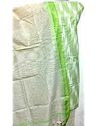 Grassroot Galery Pure Handloom Soft Cotton Women's Dress Material In Pista Green With White Ikat Weave And Contrast...