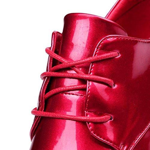 W&LMScarpe singole Femmina Tacco alto Spessore inferiore smorzato Scarpe basse scarpe casual Tacco alto invisibile Scarpe posto di lavoro Scarpe all'aperto Red
