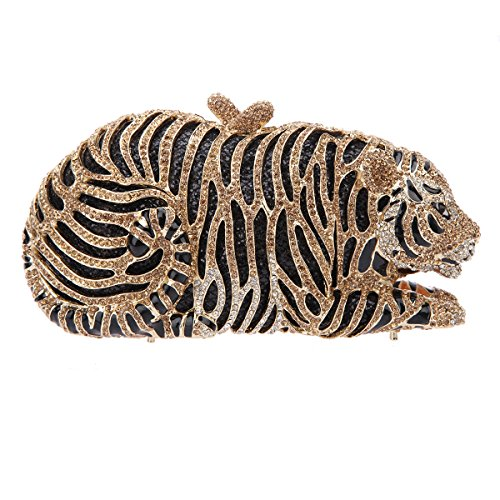 Bonjanvye Big Tiger Clutch Purse Bling Studded Glitter Clutch Evening Bag Rose Gold smoky yellow