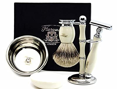 De Safety Razor ( Blades Not Inculded) Set 100% Hand Made Shaving Set in Ivory Colour for Men's. Ideal Gift This Christmas. The set Includes Pure Sliver Tip Badger with Ivory Base Hair Shaving Brush, De Safety Razor, Shaving Bowl with Soap and Brush Holde