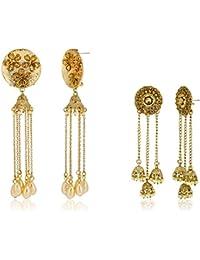Zaveri Pearls Jhumki Earrings for Women (Golden)(ZPFK7183)