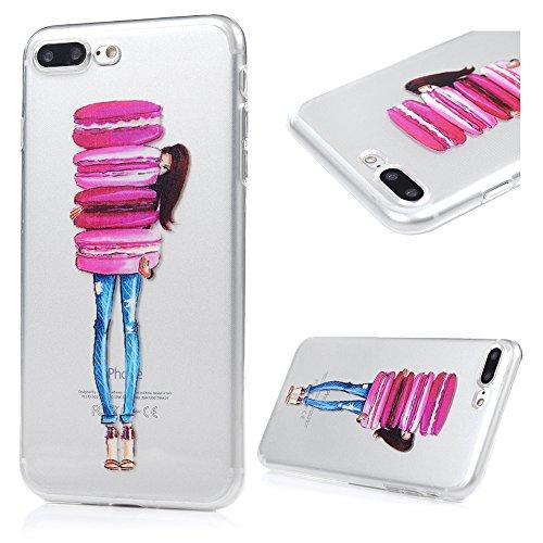 iphone 7 plus Coque Transparente de Dessin Original en TPU Souple Case Cover Personnalisé - MAXFE.CO Pissenlit & Enfant Macaron & Fille