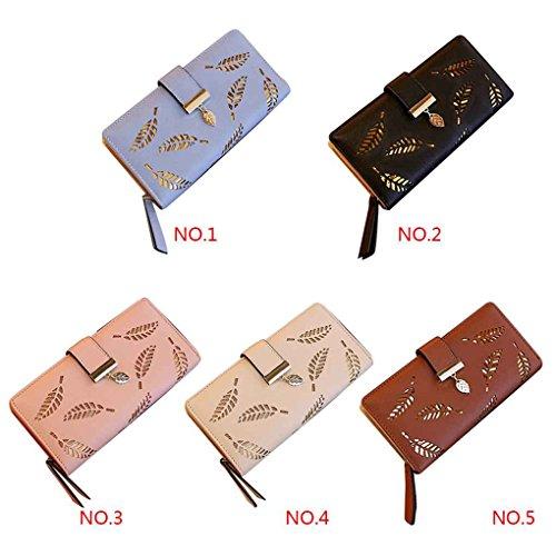 Miaomiao Borsa a freddo della borsa della borsa del supporto della carta di cuoio del raccoglitore del bifold della foglia lunga delle donne blu