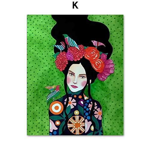 Moderno pintura al óleo moda Vintage mujer maquillaje belleza peluquería modelo arte de la pared de la lona carteles e impresiones de pared cuadros para la sala de estar decoración 60 * 100 cm
