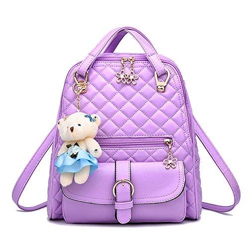 Wewod Mode Schultertasche Rucksack PU-Leder Frauen Mädchen Damen Rucksack Reisetasche mit Chic Pendent Lila A
