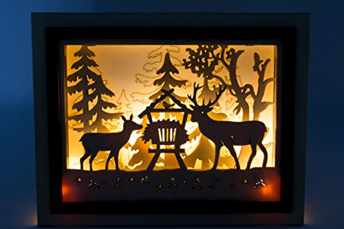 Holz Großhandel Bilderrahmen (Holz Bilderrahmen 3D - Lichterbild Weihnachten - Batterie betrieben (Reh))