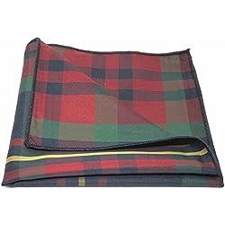 Pañuelo de Bolsillo Tradicional con Patrón Escocés Rojo / Azul